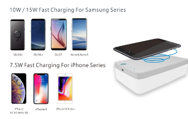 UV-C LED sterilizer with wireless charger for phones